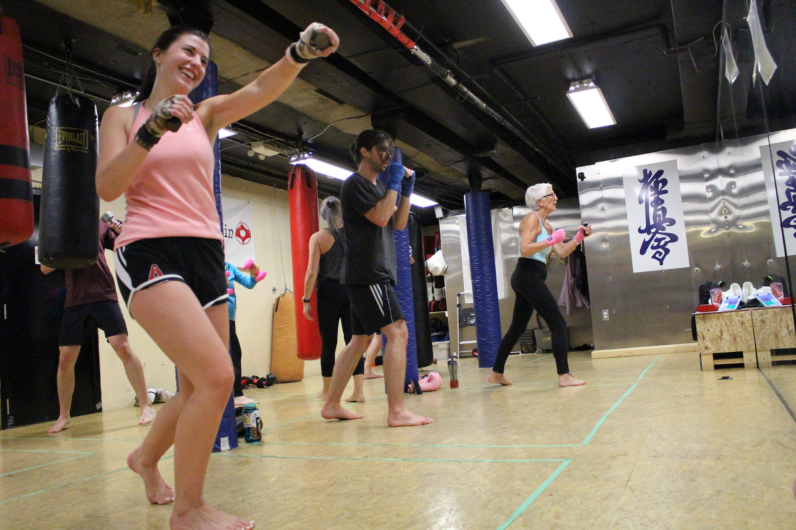 Mixed adult kickboxing class